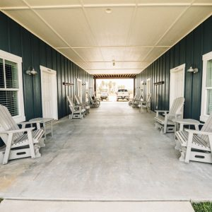 Outside seating area at The Flats Suites | Bay Flats Lodge Texas | Luxury Texas Lodge