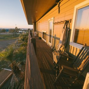 Outside deck at The Widgeon Suite | Bay Flats Lodge
